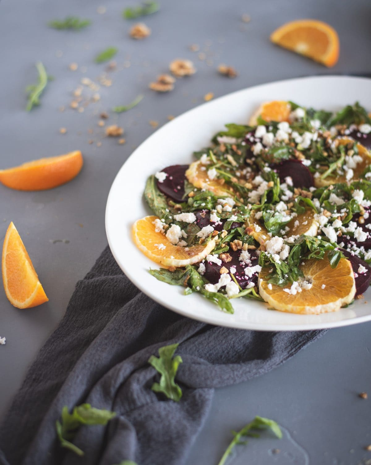 Close up holiday festive salad with beets and oranges