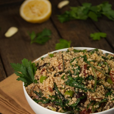 Light and tasty quinoa salad that is vegan, easy to make, highly customizable, and chalk full of vitamins!