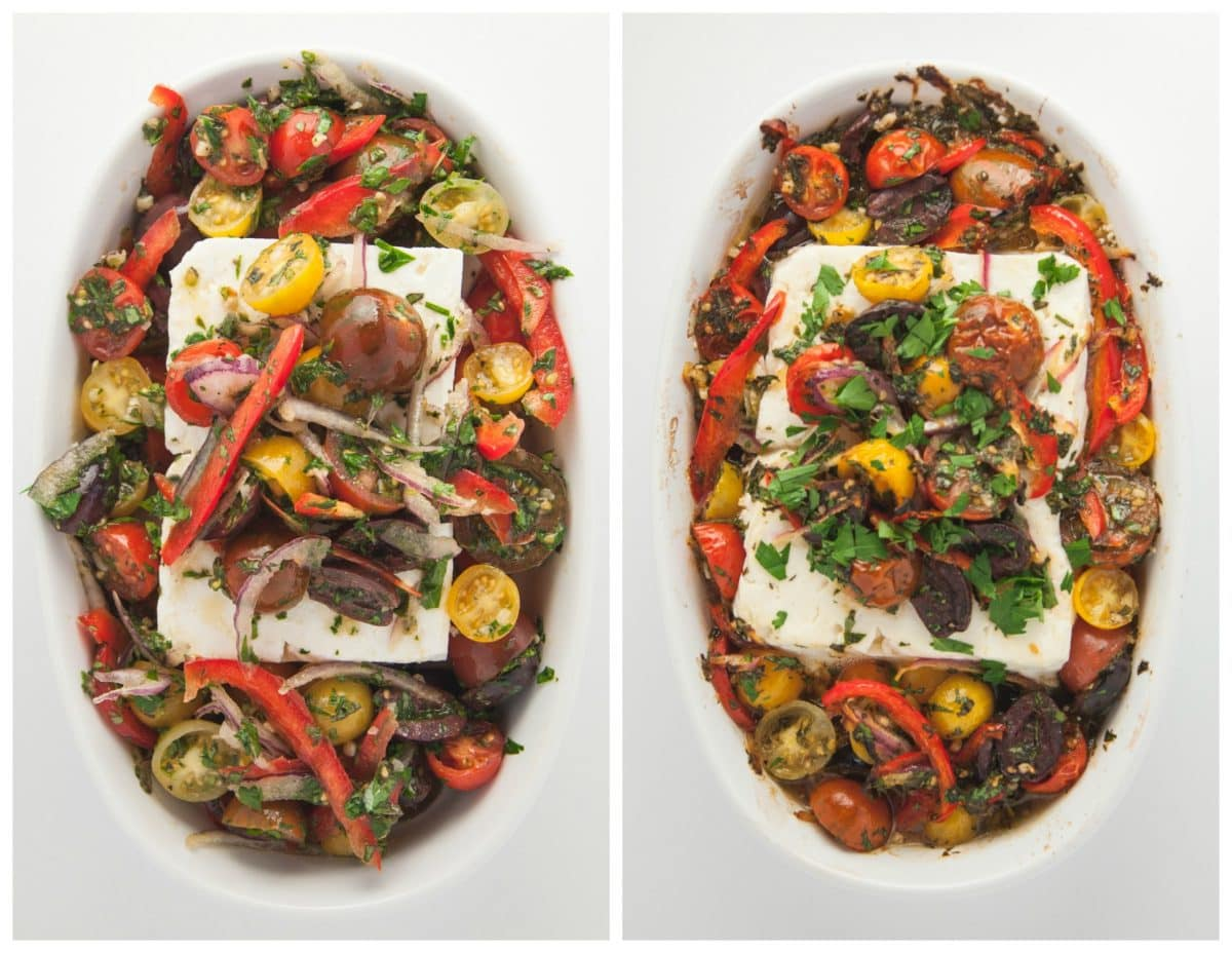 Before and after picture of baked feta
