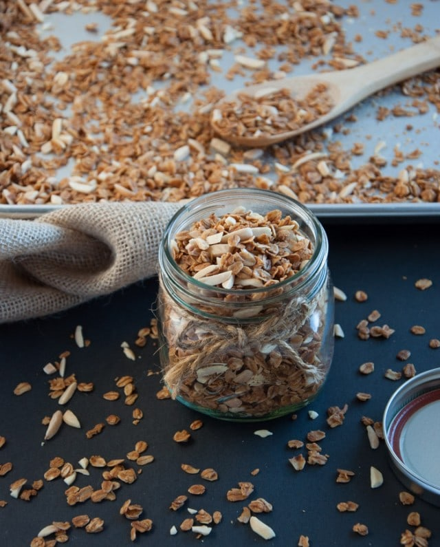 Easy base granola recipe that can be tweaked to fit your preferences with dried fruit, nuts, and even chocolate.