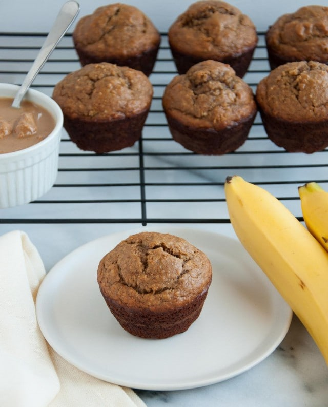 These peanut butter banana muffins are absolutely delicious, perfectly moist, and loaded with heart healthy oat flour and over 8 grams of protein.