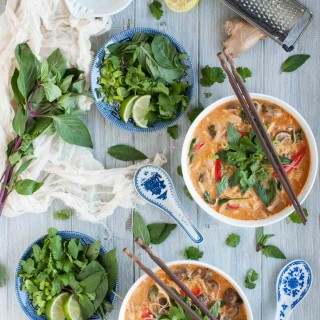 This Thai curry soup is better than most restaurants I've eaten at! The combination of curry paste, coconut milk, lime, and other delicious seasonings makes it taste authentic while the slew of veggies makes it light and healthy.