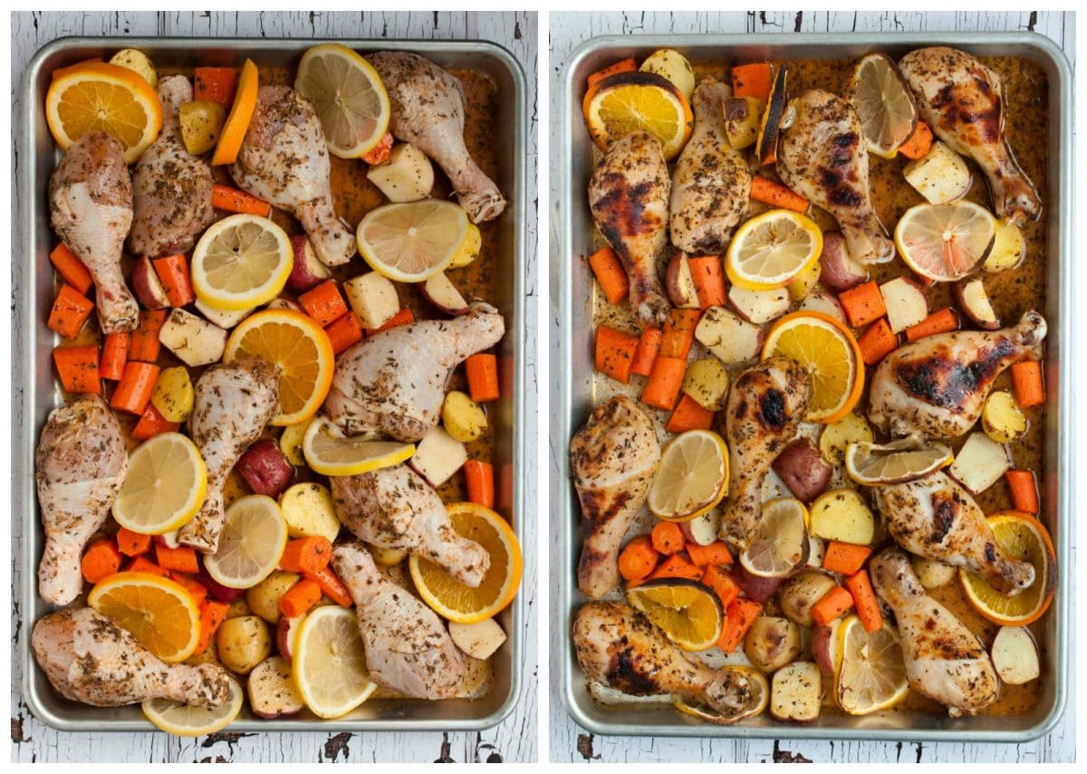 Baked citrus chicken and vegetables is a comforting, delicious, unique one dish meal that is impressive enough to serve to guests without being too fussy.