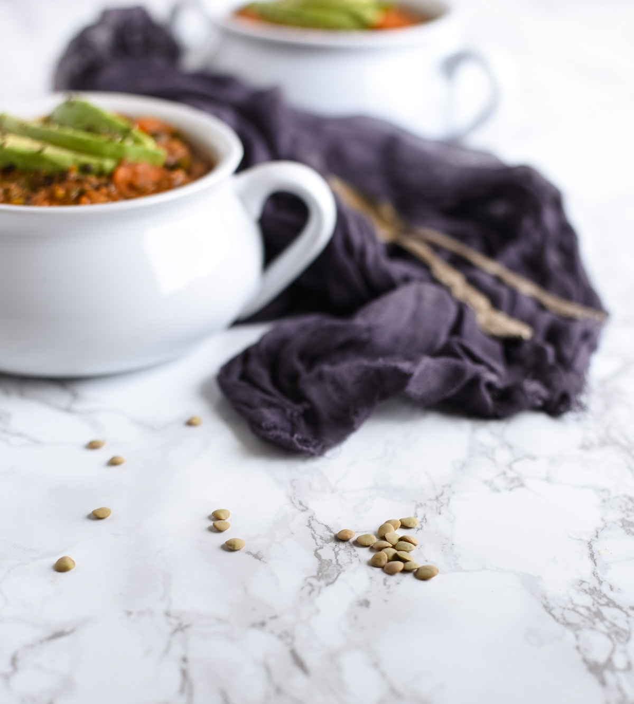 Lentil soup close picture of lentils