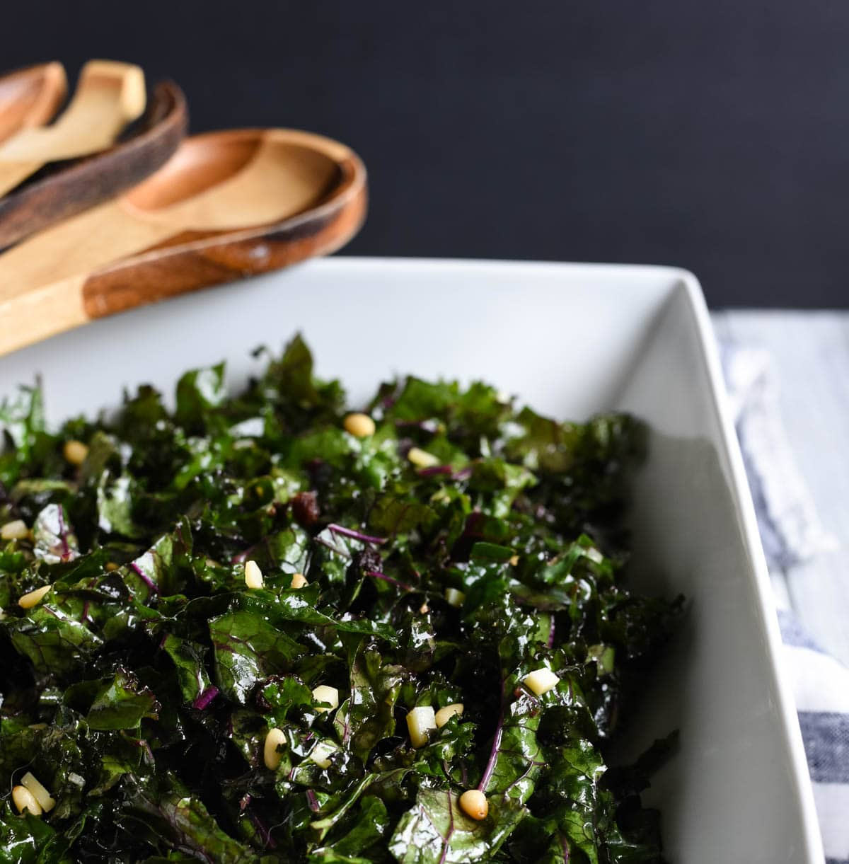 Close up of kale salad in serving bowl