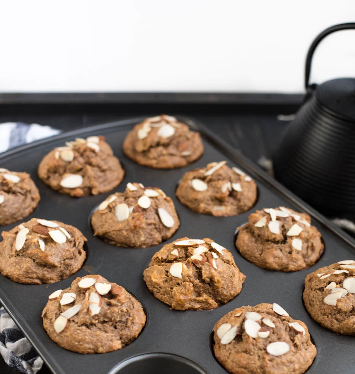 pan of almond muffins