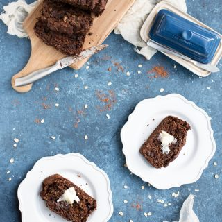 chocolate zucchini banana bread on two plates