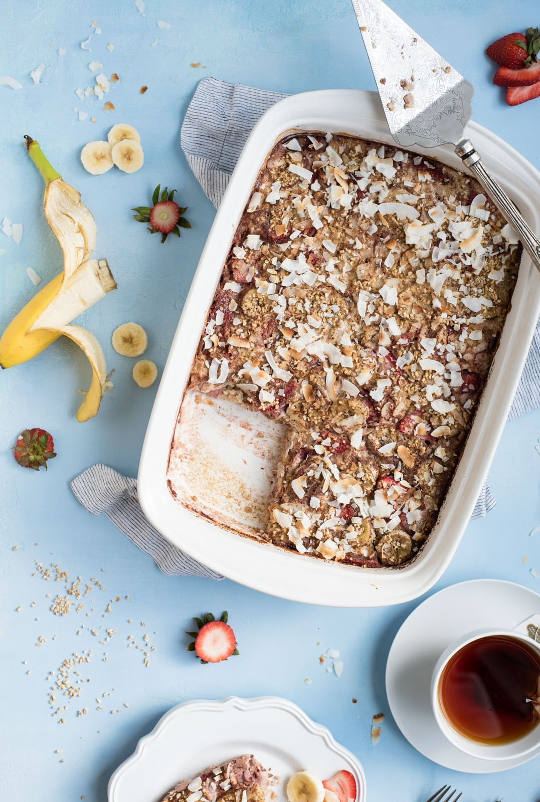 Strawberry Banana Steel Cut Oat Bake overhead picture