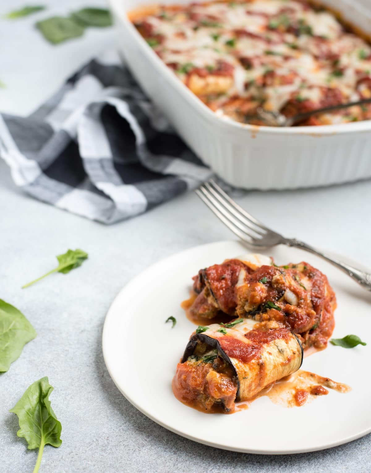 eggplant lasagna roll ups dinner dish and plate