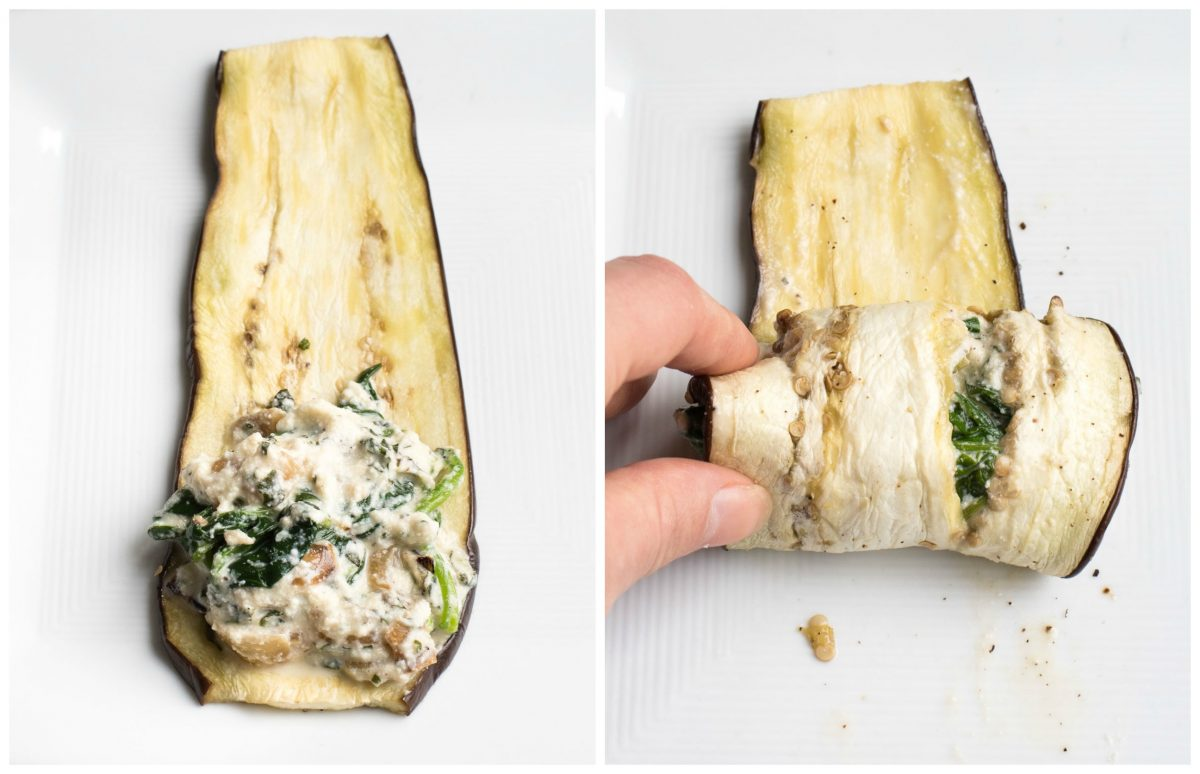 eggplant lasagna roll ups process of rolling each eggplant roll
