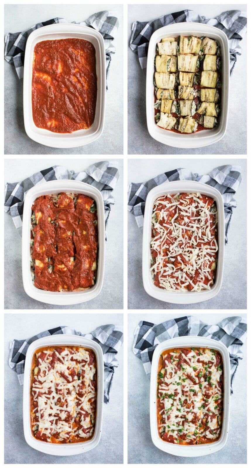 step by step instructions for eggplant lasagna roll ups