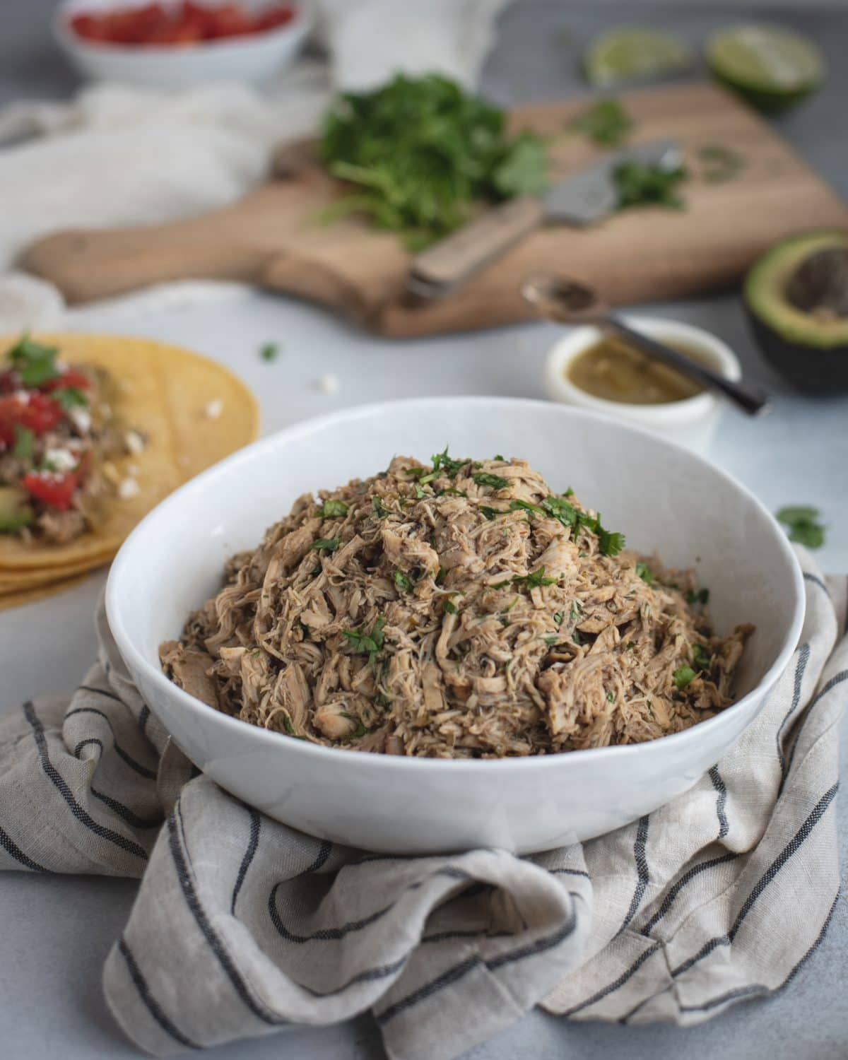 Bowl of slow cooker cilantro lime chicken