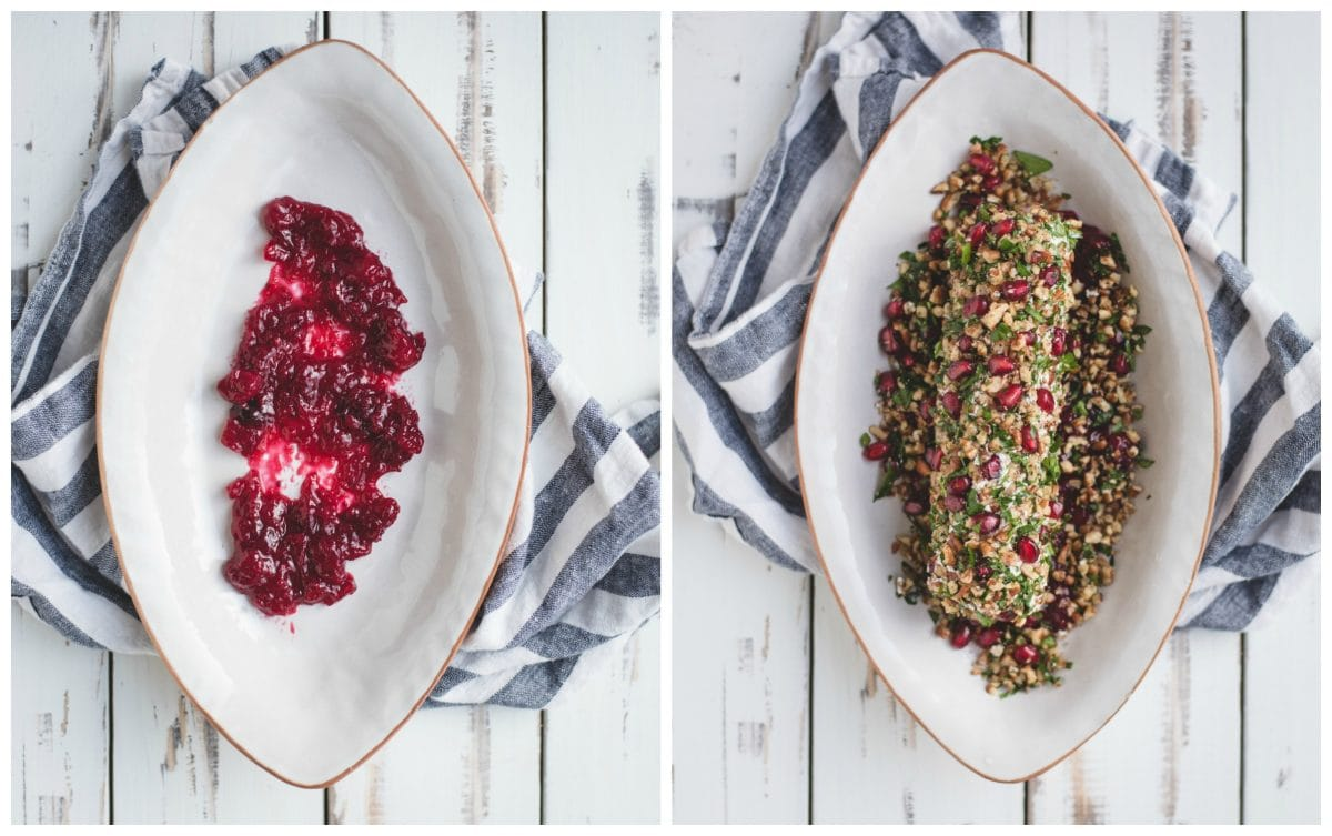 process picture of dish with cranberry sauce then goat cheese log with herbs, pomegranate, and pecans