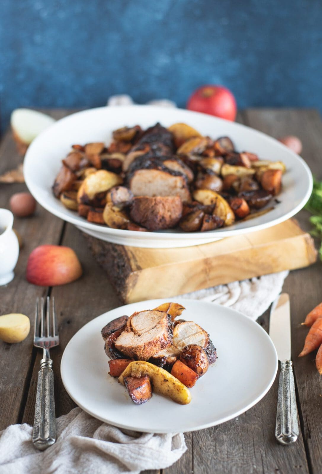 Picture of plate of Pork Tenderloin with Apples and Root Vegetables