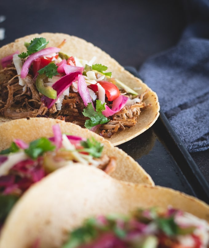 Close up picture of pork tenderloin carnitas taco