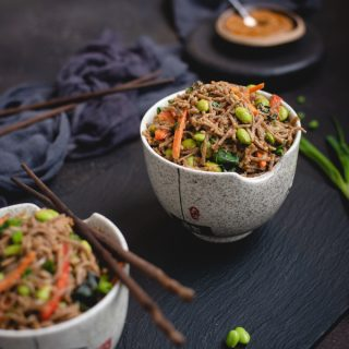 bowl of soba noodles in peanut sauce