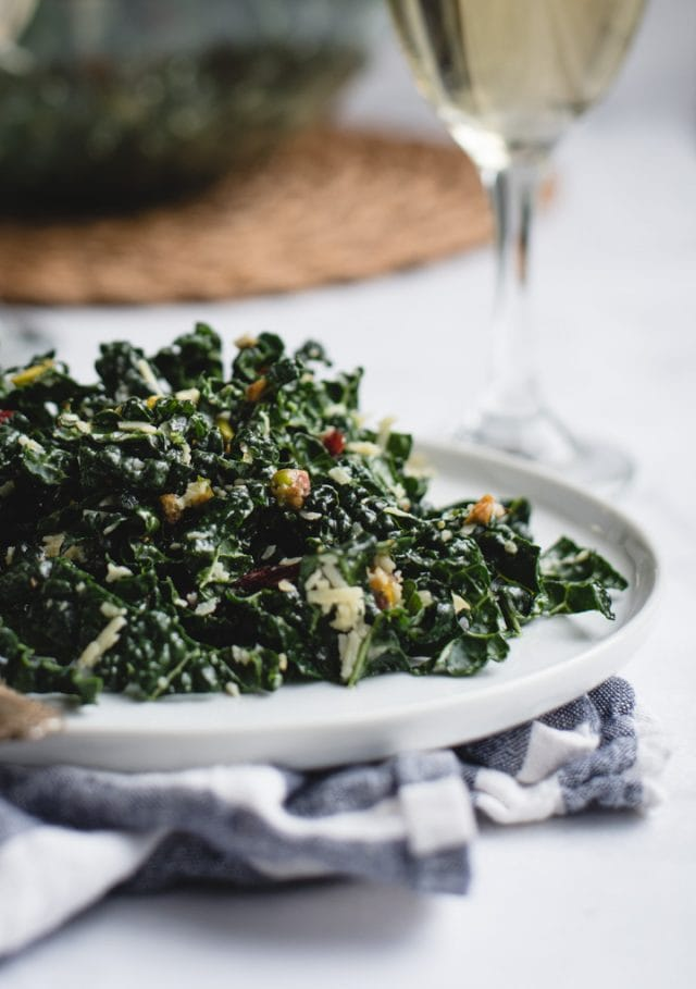 very close up picture of kale salad
